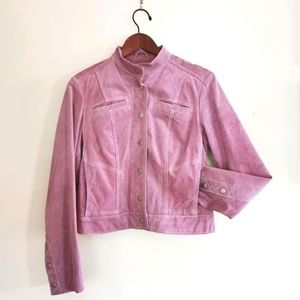 Danier US M Pink suede fitted jacket size Medium